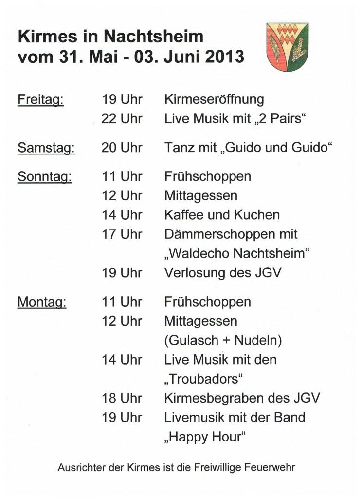 Programm Kirmes 2013